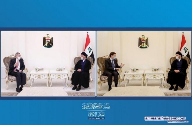 السيد عمار الحكيم يبحث مع السفيرين البريطاني والاميركي تطورات المشهد السياسي والعلاقات الثنائية