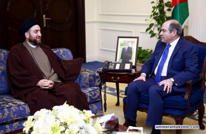 خلال زيارته الى الأردن الشقيق السيد عمار الحكيم رئيس التحالف الوطني يلتقي رئيس الوزراء الأردني الأستاذ هاني الملقى