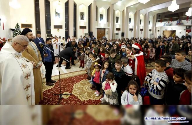 خلال مشاركة سماحته المسيحيين  قداس عيد الميلاد.. السيد عمار الحكيم : نجتمع في عام اخر ونحن نحتفل بالنصر على داعش والعزم على بناء دولة راعية للجميع